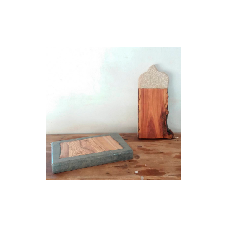 Stone and wooden kitchen board-0