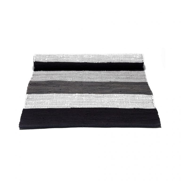 Black,Grey and White Striped Cotton Rug -0