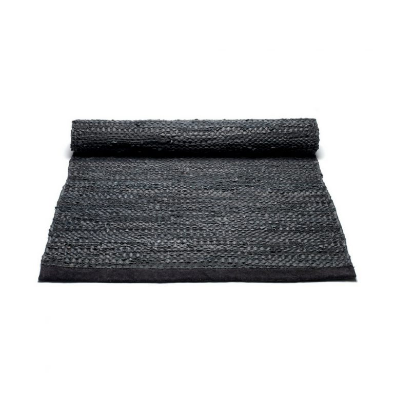 Black Leather Rug -0
