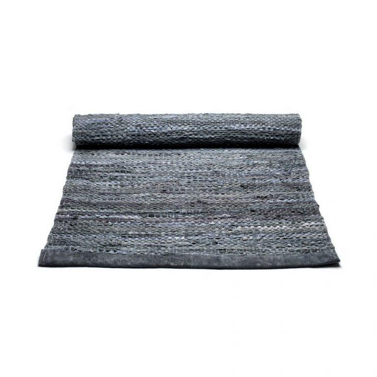 Dark Grey Leather Rug -0