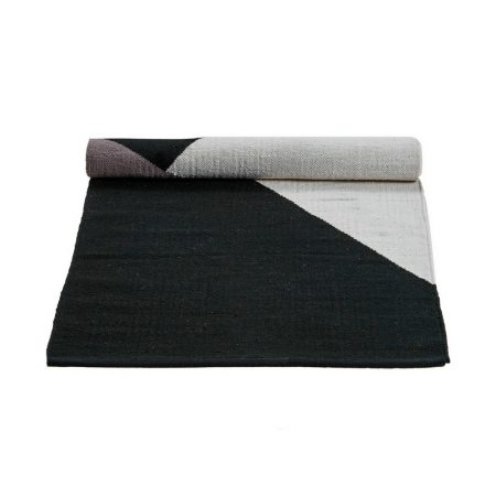 Black,grey and white Horizon Cotton Rug -0