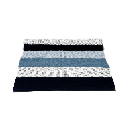Blue and White striped Cotton Rug -0