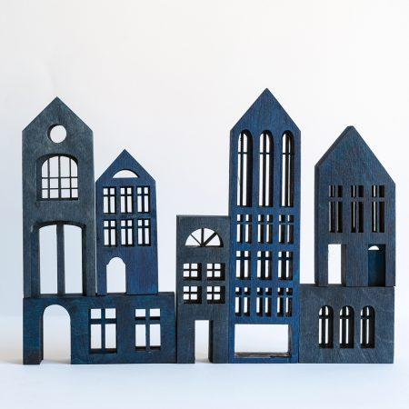 Escultura madera Metropol blue-0