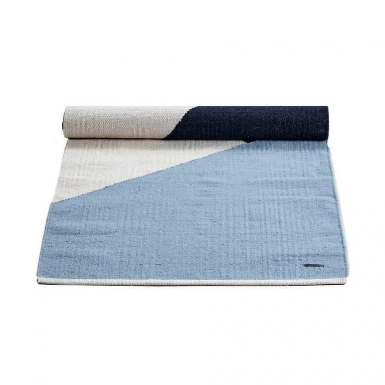 Blue and white Horizon Cotton Rug -0