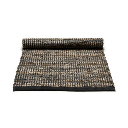 Graphite Jute and leather Rug -0