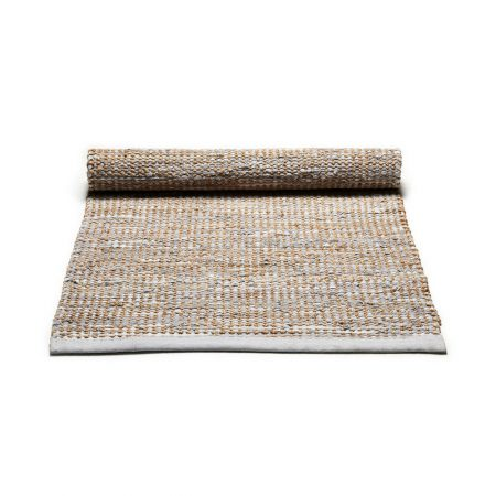 Smooth Grey Jute and leather Rug -0
